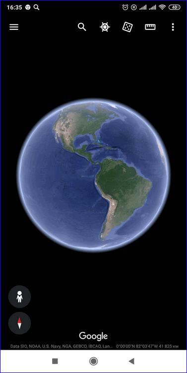 Главное меню Google Earth