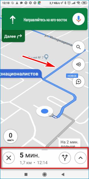 Информация во время движения Google Maps