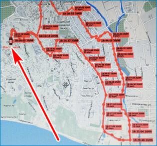 Маршрут на карте GPS Trace