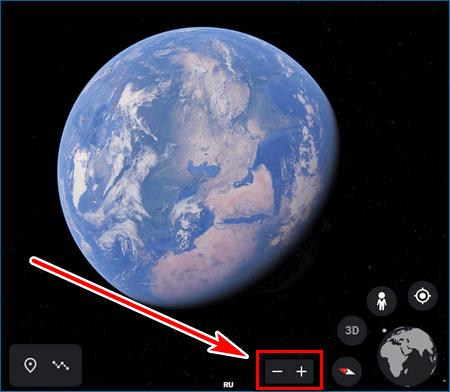 Масштаб Google Earth