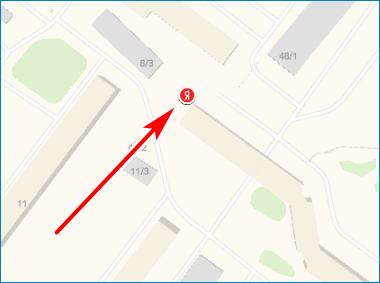 Местоположение на карте Yandex