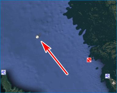 Обломки корабля Google Earth