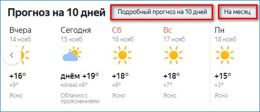 Подробный прогноз погоды