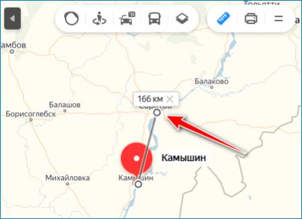 Расстояние между точками Yandex