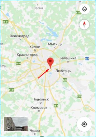 Точка на карте Google Maps