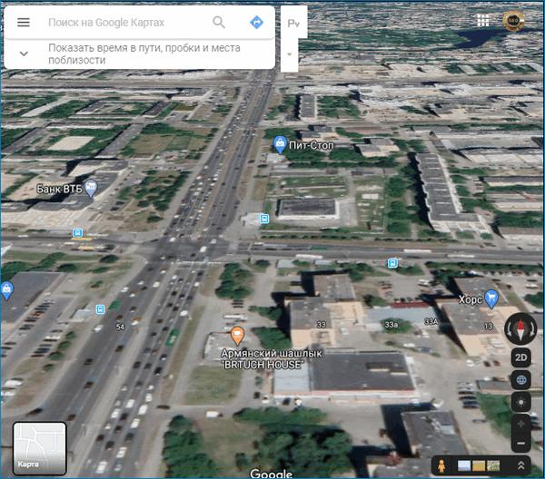 3D карта Google