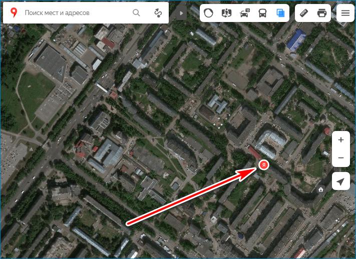 Местоположение Yandex