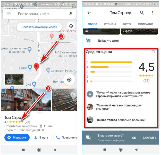 Оценка мест Google